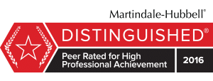 Distinguished Peer Rated for High Professional Achievement 2016